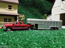 NEW! Ertl 1/64 Red Dodge RAM 2500 with gooseneck horse trailer ( No Box )