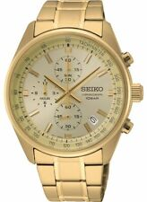 Seiko Chronograph Men's Watch SSB382P1 Analog Gold Toned Stainless Steel Watch