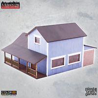 Plast Craft Games Colored Suburban House Blue Urban Building box new