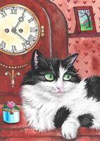 5X7 PRINT OF PAINTING RYTA TUXEDO CAT MANTEL CLOCK PINK ROSE VINTAGE STYLE ART