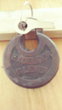vintage corbin EXCELSIOR 6  lever  push key pancake padlock w/key long shkL  L3