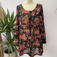 H&M Sheer Black Floral Button Through Shirt Dress Boho Cottagecore Sz 10