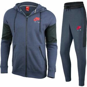 Nike Air Full Tracksuit Set Zip Hoodie Joggers Trackies Blue Anthracite 861612