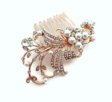 Beautiful Rose Gold Tone Diamante and Faux Pearl Hair Comb Slide Bridal Prom