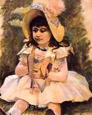 Little Girl with Japanese Doll by Mary Cassatt Art Child Big Hat 8x10 Print 1041