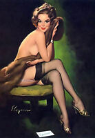 Framed Print - Pin Up Girl Half Naked on a Stool (Picture Poster Art Sexy Tattoo