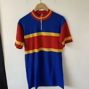 Vintage Italian Cycling Jersey Size S? Short Sleeve Blue Multi Coloured Striped