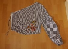 Stradivarius (ZARA'S SISTER)  Top One Shoulder Striped Embroidery Blue Size L