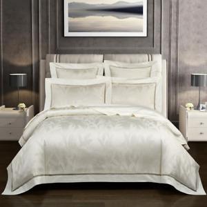 4 Pcs Queen King Size Duvet Cover Sets Soft Egyptian Cotton Comforter Cover Sets