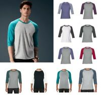 ANVIL Two Tone Tri-Blend 3/4 Length Sleeve RAGLAN T-SHIRT Top in Colour Choices