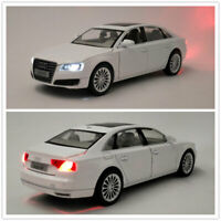 1/32 Scale Audi A8 Model Car Alloy Diecast Toy Vehicle Kids Gift Pull Back White