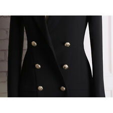 Occident Women Double Breasted Button Designer Long Sleeve Collar Blazer Dresses