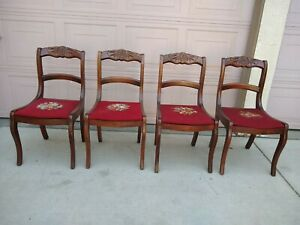 Vintage Set 4 Solid Carved Wood Dining Accent Parlor Needlepoint Floral Chairs