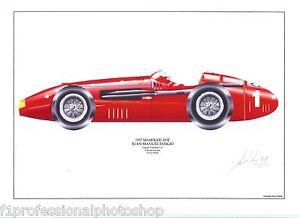 Fangio ltd.ed.signed art print - 1957 Maserati 250F
