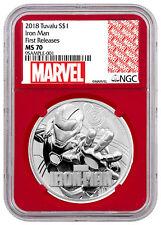 2018 Tuvalu Iron Man 1 oz Silver Marvel Srs $1 NGC MS70 FR Red PRESALE SKU53474
