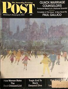 JANUARY 1963 SATURDAY EVENING POST MAGAZINE WOOLMAN RINK CENTRAL PARK NEW YORK