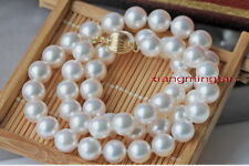 """Collectibles Top 17""""9-10mm round REAL south sea silver WHITE pearl necklace 14K"""