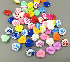 100pcs Mix color Lovely Resin Dog foot prints shaped buttons sewing 13mm