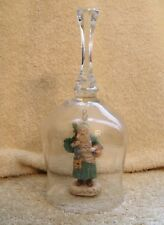 Vintage Father Christmas Santa Claus Clapper Clear Crystal Bell 7 1/2 In. Tall