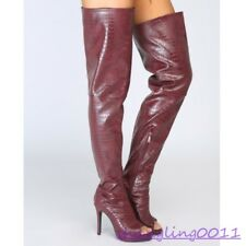 Womens Stilettos High heel shoes Open toe Side zip Sexy Party Over Knee boots