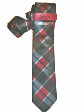 ALFANI NWT $59 MEN TIE & BAR RED GRAY STRIPE PLAID SLIM 2 1/2 A3503