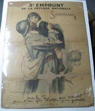 RARE Vintage WWI August Leroux 3e Emprunt De La Defense Nationale Poster 1917