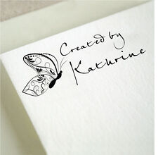Personalized Custom Handmade Created By Handle Mounted Rubber Stamp RE685