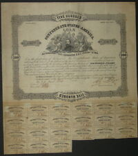 $500 Confederate Bond, Act of Aug. 19, 1861, Man with 3 Women 21 coupons