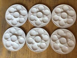 6 Oyster - Shellfish  white plates (set 1 of 2 )