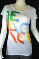 New Bench Women Ashes Tshirt Abstract Logo Short Sleeve White Sz S