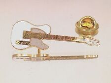Vintage Miniature Tele Guitar Pin White Music Gifts Jewelry Gold Plated