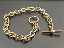 VINTAGE SOLID 9ct GOLD CABLE LINK BRACELET T-Bar & Ring Clasp C.1990