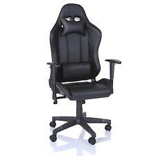 TRESKO® Sedia da ufficio Poltrona ufficio Versione Racer Racing Gaming Nero