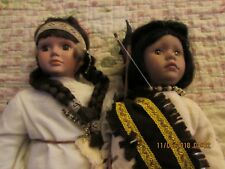 Limited Collectible Native American Porcelain Dolls Cricket Song & Running Bear