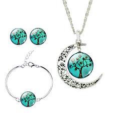 4pcs/set Galaxy Jewelry Glass Cabochon Moon Pendant Necklace Earrings Bangle Set