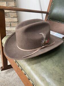 Western Tan Cowboy Golden Gate Hat Co Brown Bronco Jr. Feathers 100% Wool