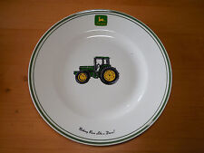 "Gibson JOHN DEERE TRACTOR Set of 2 Dinner Plates 11 1/4"" Green"