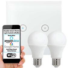 WiFi Light Switch & Bulb–2x 10W E27 Cool White Lamp & Double Wireless Wall Plate