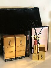 Yves Saint laurent 5 Pieces Travel SZ lip color,Mascara & Beautiful  Makeup bag!