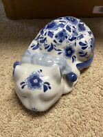 Blue And White Ceramic Cat Floral Napping 10 Inches Long Kitty