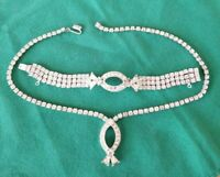 Vintage SARAH COVENTRY SAC silver tone rhinestone Bracelet/Necklace set