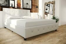 White Faux Leather Platform Bed Frame Tufted Headboard Multiple Size NEW