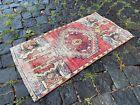 Bath rug, Small rug, Vintage handmade rug, Turkish ethnic rug | 1,4 x 2,6 ft