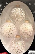 Beautiful White & Gold Glitter Floral Designs Ball Glass Christmas Ornaments