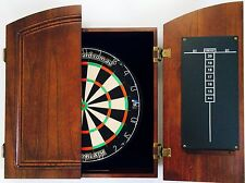 PRO BLADE Dart Board Set TIMBER Cherry Wood Colour Wooden Cabinet + 6 x Darts