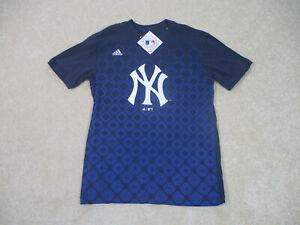 NEW Adidas New York Yankees Shirt Youth Large Blue White MLB Baseball Boys Kids