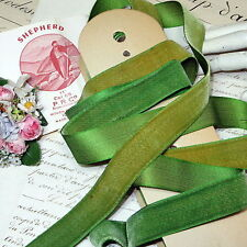 "10y Bolt Antique French Green Velvet Ribbon ""Ombre Aged"" Millinery Hat Trim Vtg"