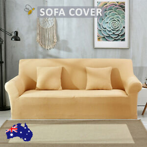 Sofa Cover 1 /2 /3 Seater Couch Lounge Protector Slipcovers Yellow Stretch Cover