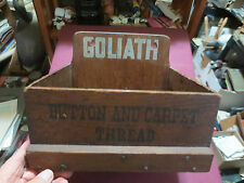 """GOLIATH """" BUTTON AND CARPET THREAD """" ADVERTISING STORE DISPLAY WOOD COUNTER BOX"""