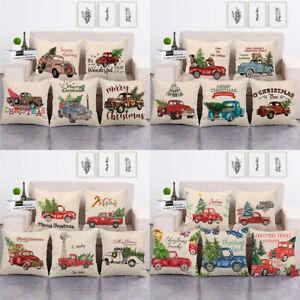 Christmas Tree Truck Home Decor Festival Xmas Farm Art Pillow Case Cushion Cover